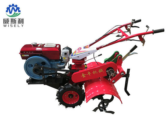 ISO Standard 5.67KW Diesel Power Tiller / Small Farm Equipment Red Color