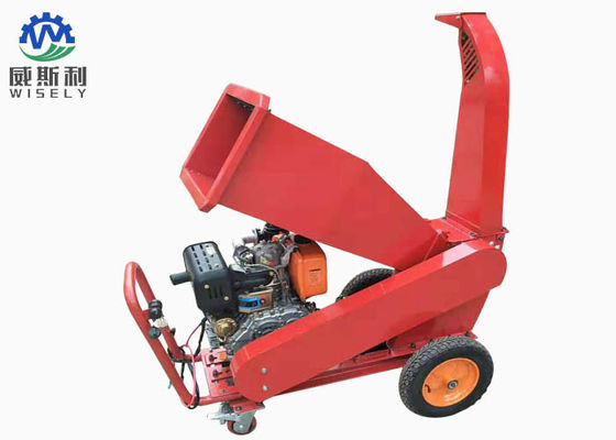 Customized Color Trailer Mounted Wood Chipper / Wood Chipper Grinder 15hp Diesel Engine
